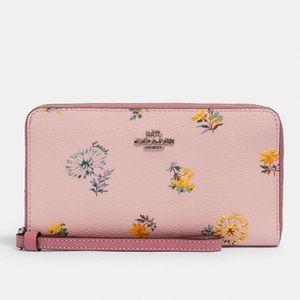 NWT COACH Large Phone Wallet Dandelion Floral Pink